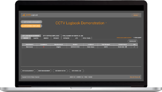 CCTV Logbook on a MacBook Pro computer