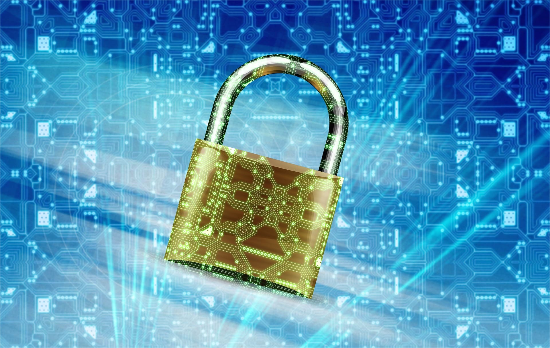 Padlock on a digital background