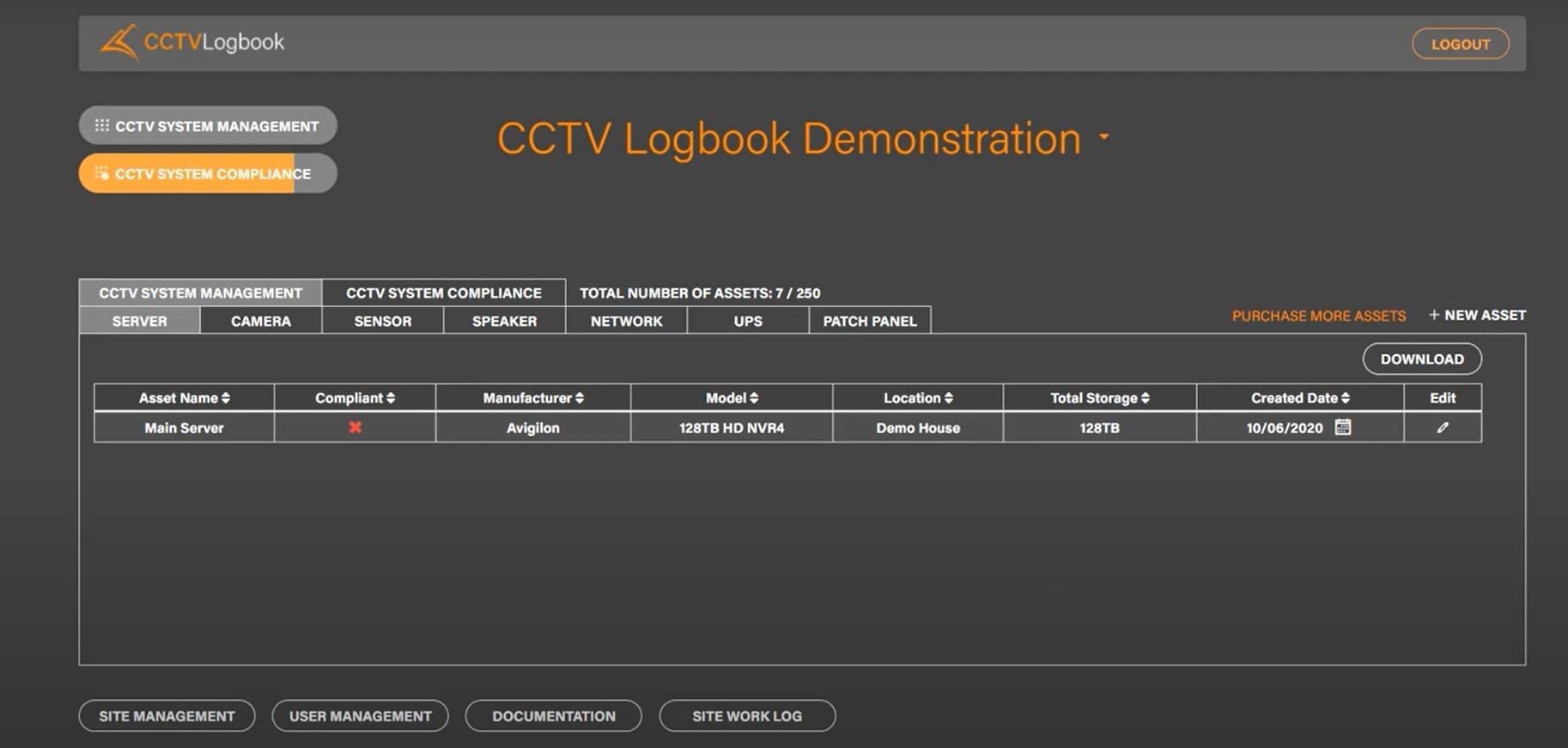 Screenshot of CCTV Logbook software 1