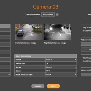 Screenshot of Camera asset screen