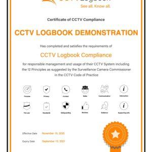 Code of Practice Certificate Image CCTV Logbook